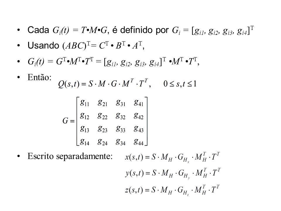 Cada Gi(t) = T•M•G, é definido por Gi = [gi1, gi2, gi3, gi4]T